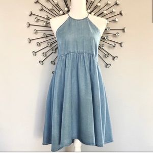 Kimchi chambray halter mini dress